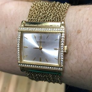 Gold Guess Watch with Pearl face